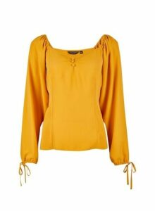 Womens Yellow Sweetheart Neck Button Top- Ochre, Ochre