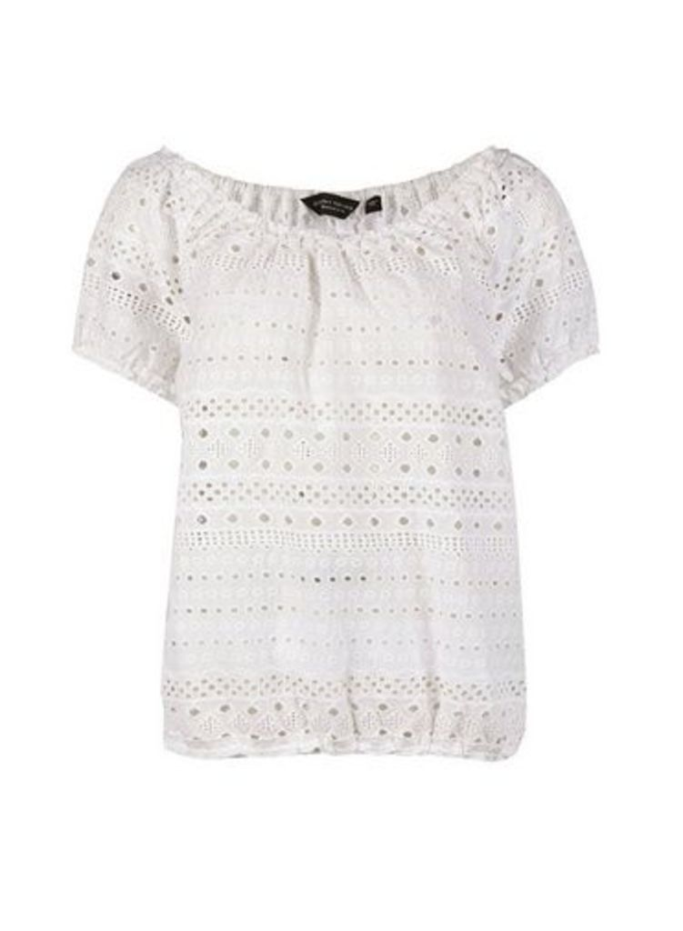Womens Ivory Broderie Milkmaid Top- Ivory, Ivory