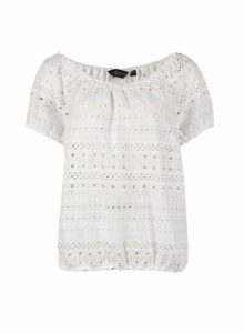 Womens Ivory Broderie Milkmaid Cotton Top- White, White
