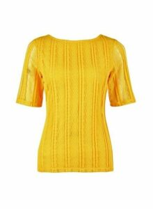 Womens Yellow Scoop Back Lace T-Shirt- Yellow, Yellow