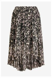 Womens AllSaints Leopard Print Pencil Skirt -  Animal