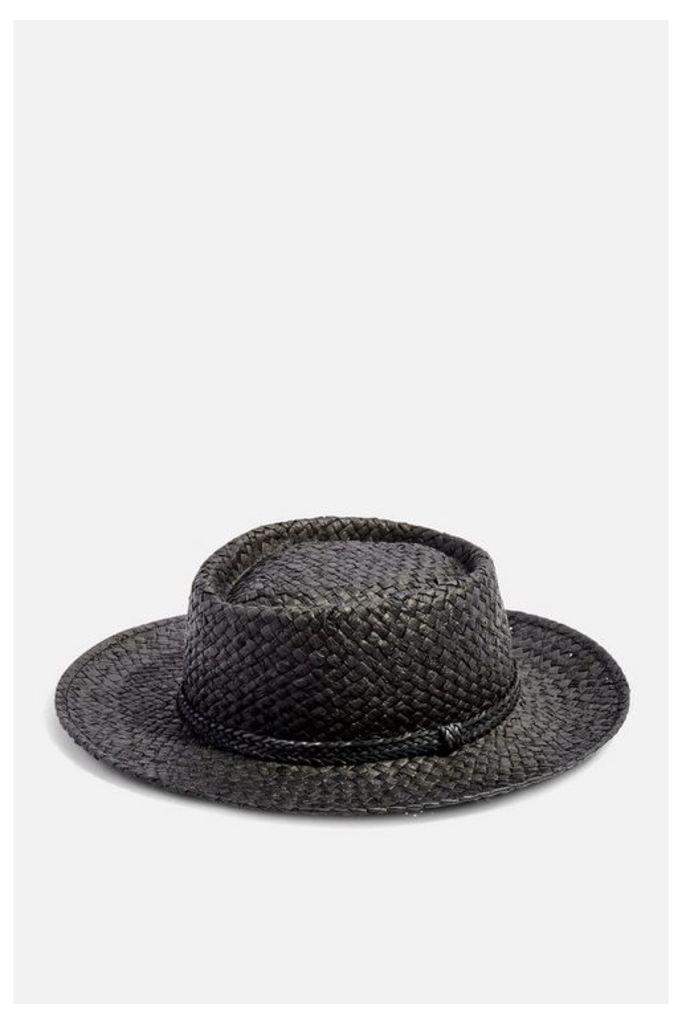 Womens Straw Flat Top Hat - Black, Black