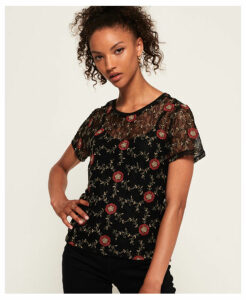 Superdry Madison Embroidered Lace T-Shirt
