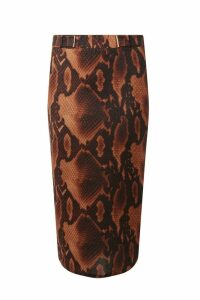 Womens Dorothy Perkins Tall Snake Print Skirt -  Brown