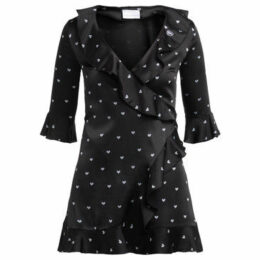 Chiara Ferragni  Abito mini Chiara Ferragni nero cuori bianchi  women's Dress in Black