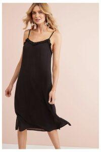 Womens Next Black Midi Slip Dress -  Black