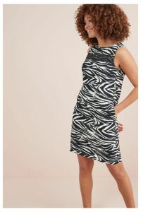 Womens Next Zebra Print Linen Blend Shift Dress -  Animal