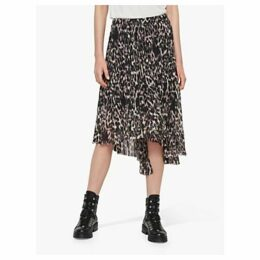 AllSaints Leopard Asymmetric Pleated Midi Skirt, Multi