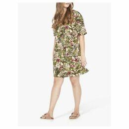 JUNAROSE Curve Tropical Floral Print Shift Dress, Dusty Pink