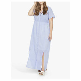 JUNAROSE Curve Button Down Maxi Dress, Blue