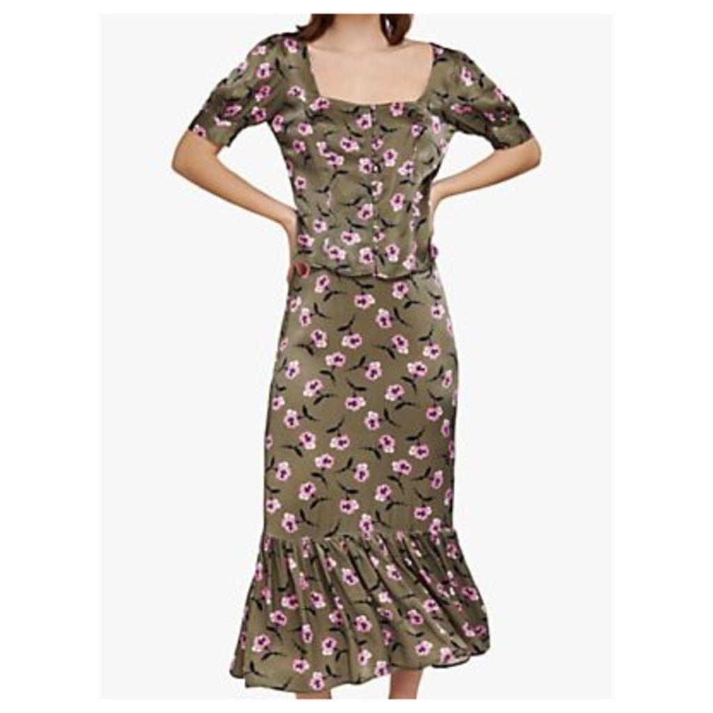 Ghost Frilled Hem Floral Midi Skirt, Cally Carnation