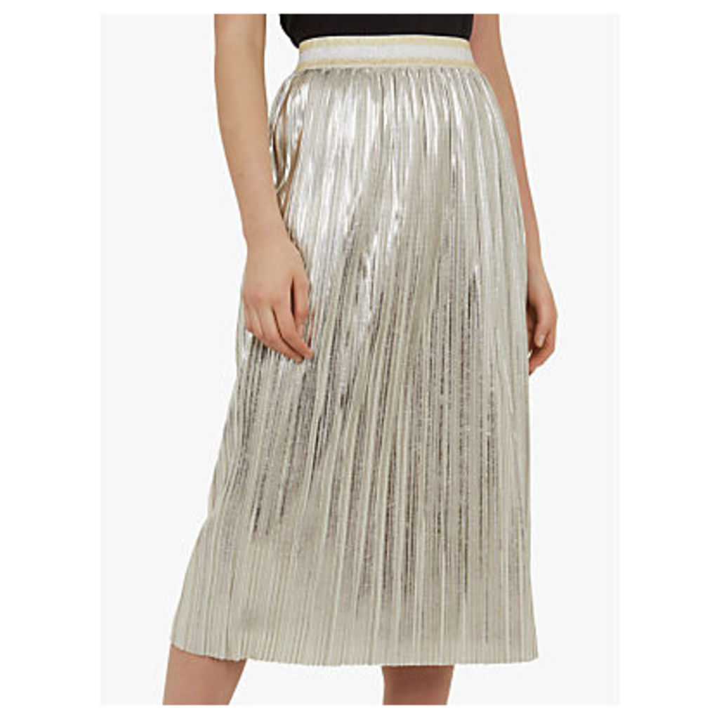 Ted Baker Ariana Metallic Pleated Midi Skirt, Light Grey