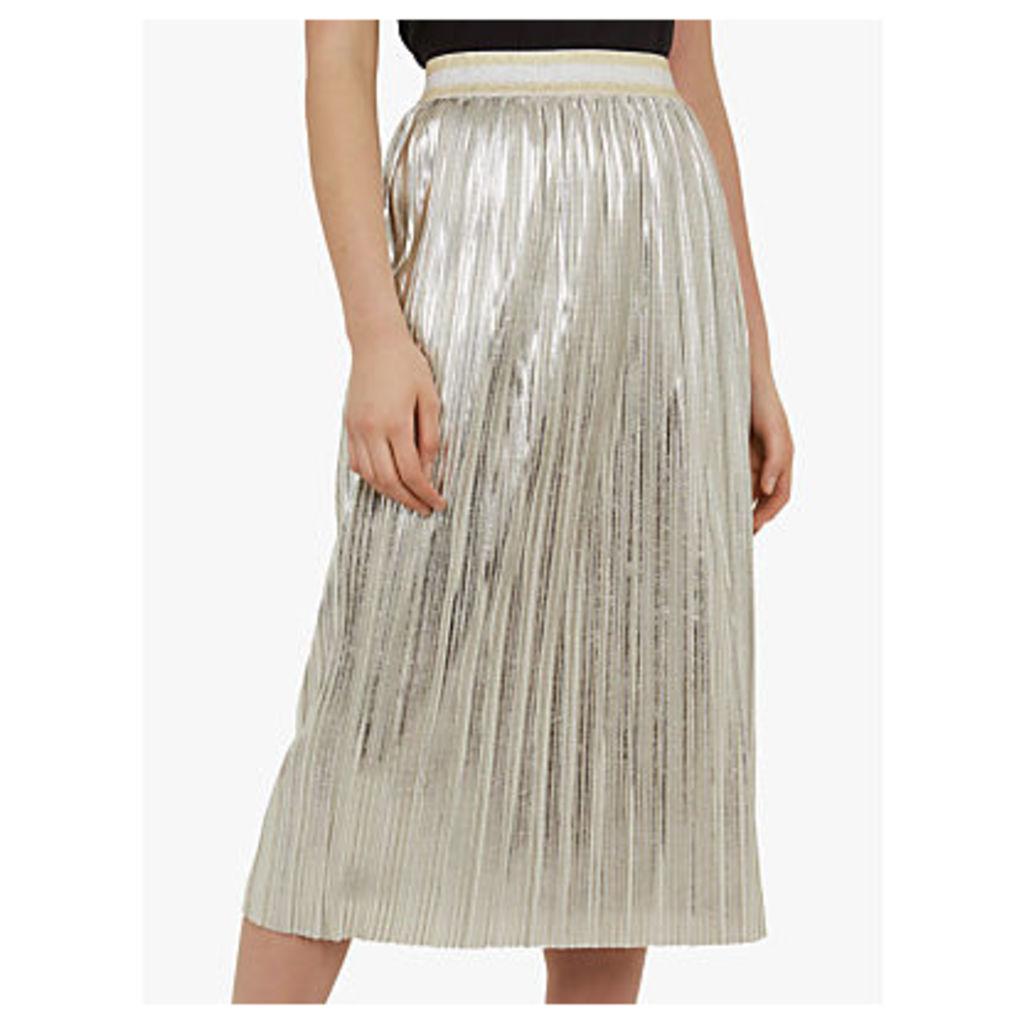 Ted Baker Ariana Metallic Pleated Midi Skirt, Light Grey