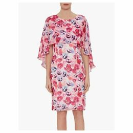 Gina Bacconi Idra Chiffon Dress and Overcape, Multi