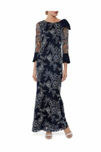 Womens Gina Bacconi Blue Taryn Embroidery Maxi Dress -  Blue