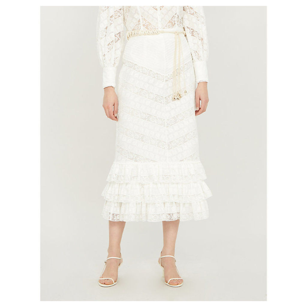Veneto ruffled lace midi skirt