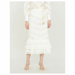 Veneto ruffled lace midi skirt