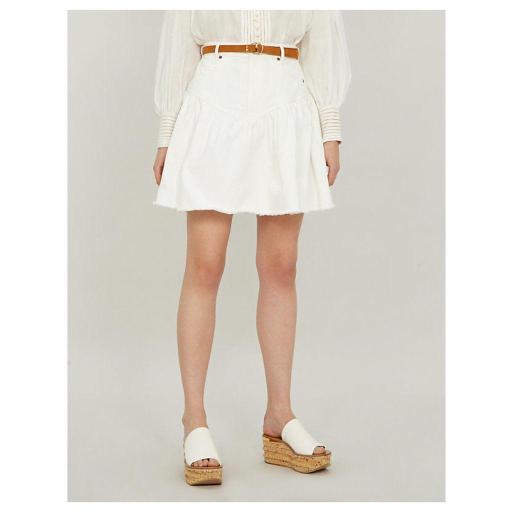 Veneto ruffled denim skirt