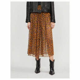 Lydia leopard-print woven midi skirt