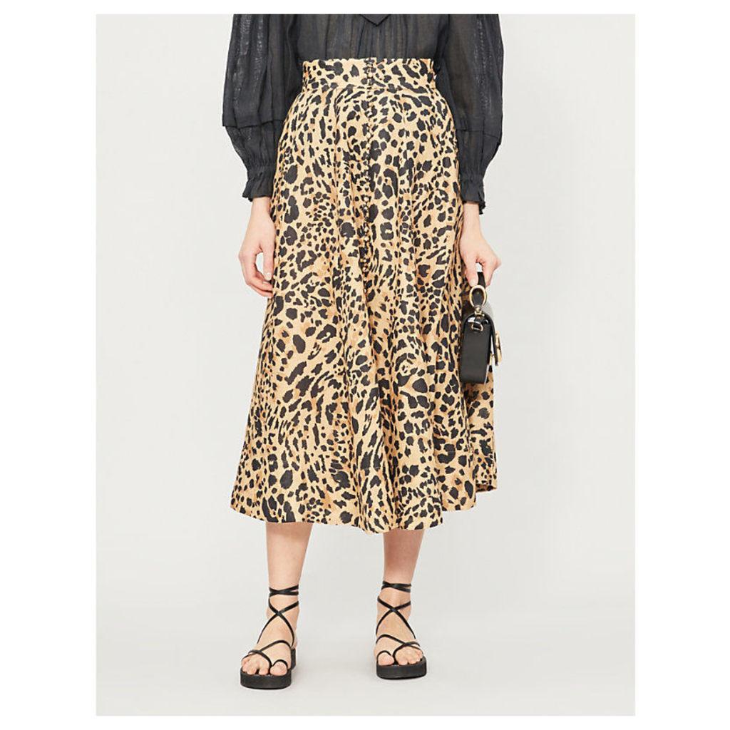 Flared high-waist leopard-print linen midi skirt