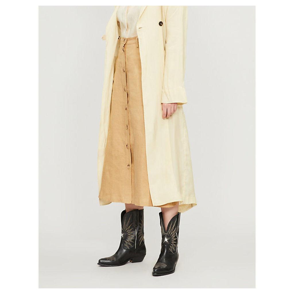 Avie high-waist linen midi skirt