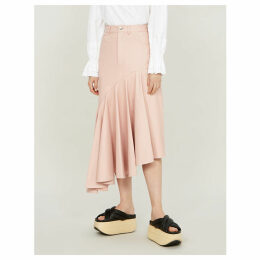 Ruffled asymmetric leather midi skirt