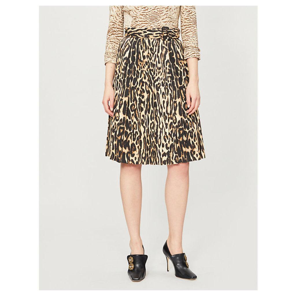 Leopard-print stretch-silk midi skirt