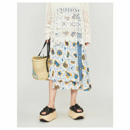 Loewe x Paula's Ibiza asymmetric crepe and denim midi skirt
