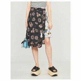 Loewe x Paula's Ibiza printed ruffled crepe skirt