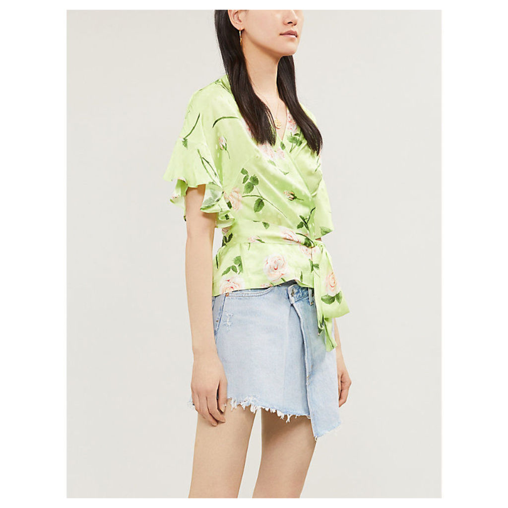 Alexis flared-cuff floral-print satin wrap top