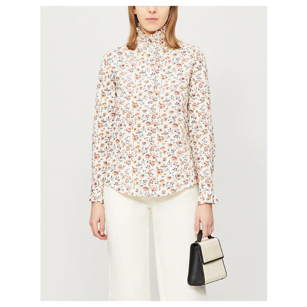 Columbe Enna frilled floral-print cotton shirt