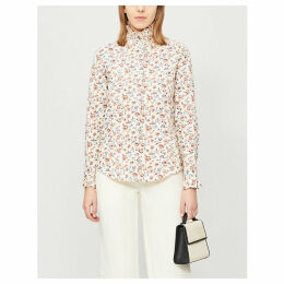 Columbe Enna frilled floral-print cotton shirt