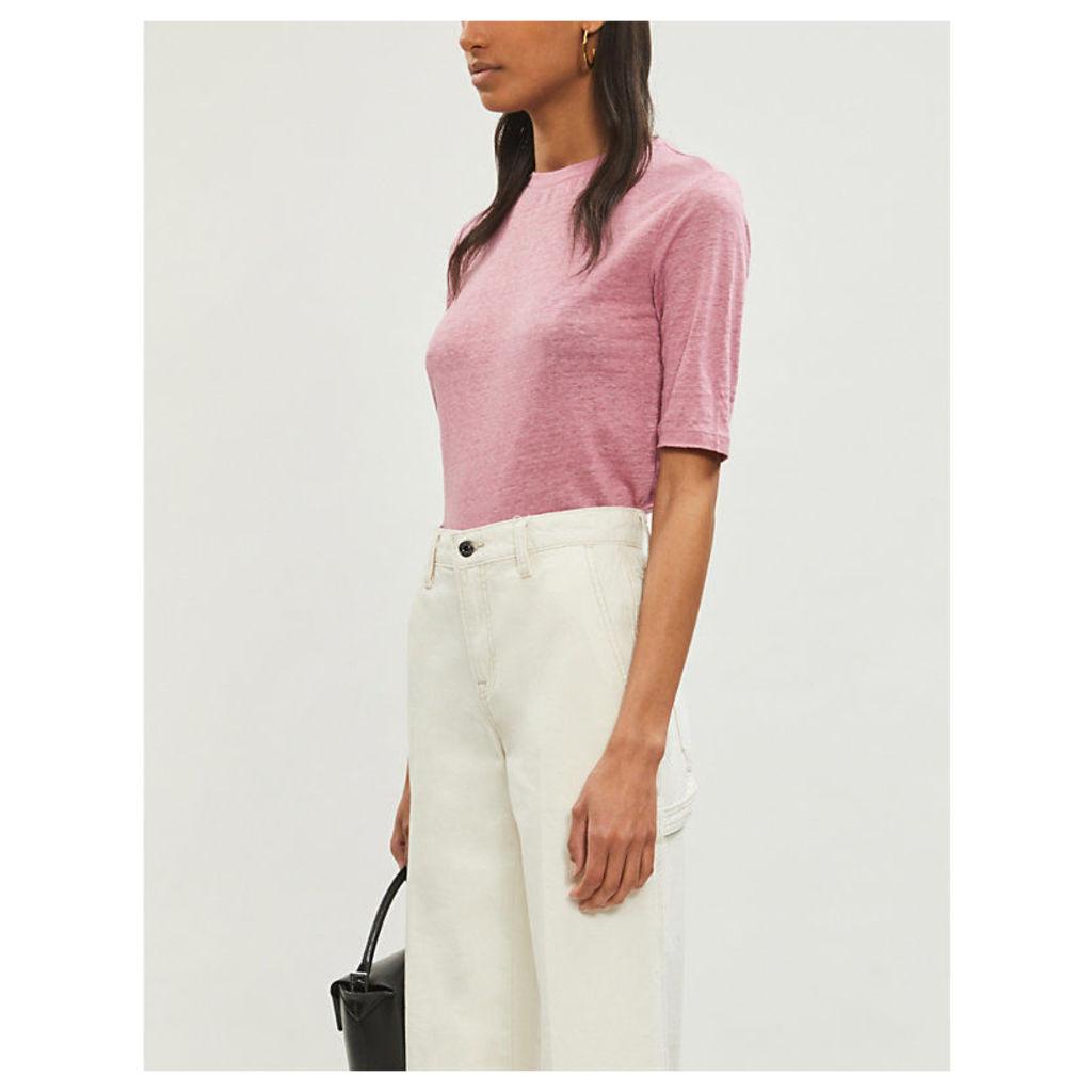 Round-neck linen-jersey T-shirt