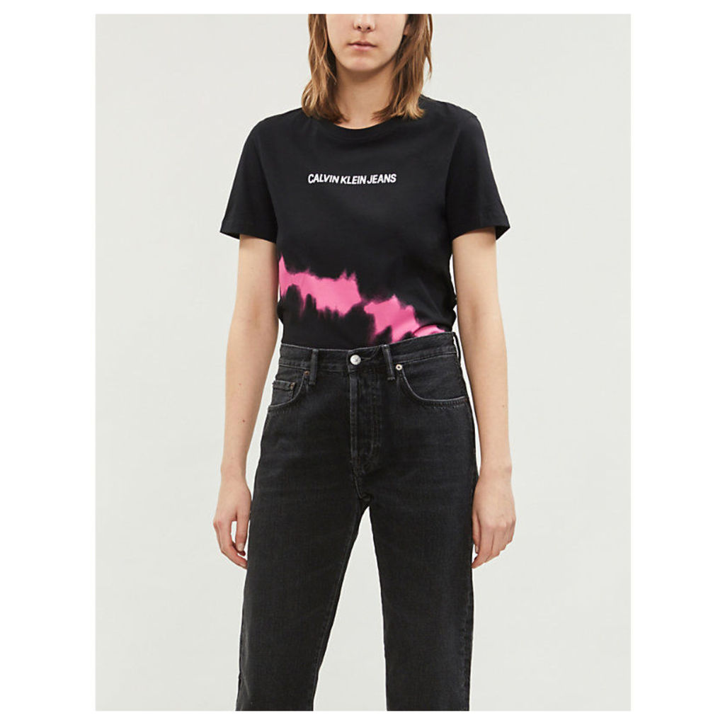 Tie-dye logo-print cotton T-shirt
