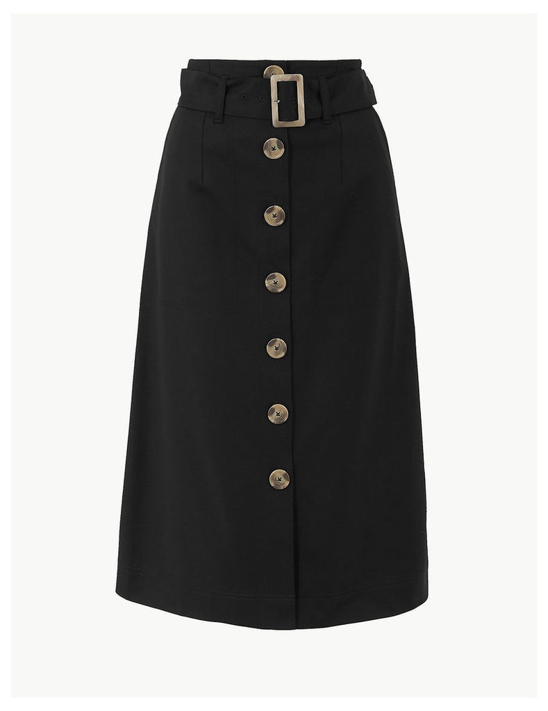 M&S Collection Button Detailed Fit & Flare Skirt