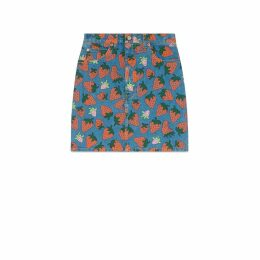 Denim skirt with Gucci Strawberry print
