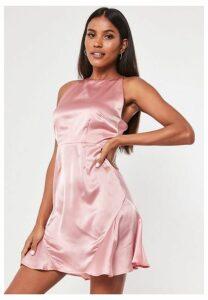 Blush Satin Flippy Hem Mini Dress, Blush