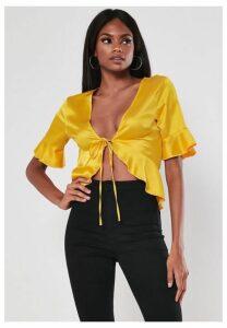 Yellow Satin Tie Front Crop Top, Yellow