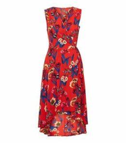 Mela Red Floral V Neck Wrap Dress New Look