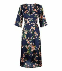 AX Paris Blue Floral 1/2 Sleeve Midi Dress New Look