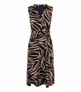 Mela Navy Tiger Print Wrap Front Midi Dress New Look