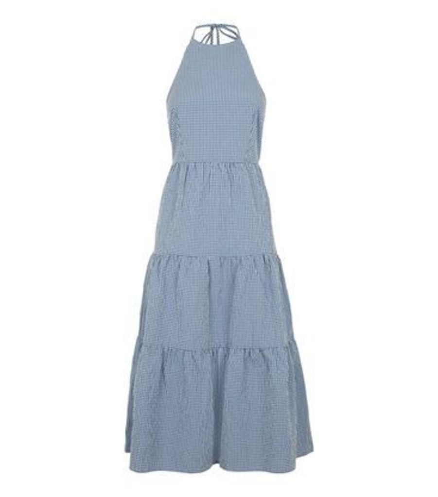 Blue Gingham Halterneck Tiered Midi Dress New Look