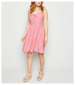 Petite Mid Pink Lace Up Mini Dress New Look