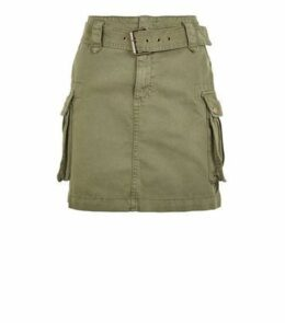 Petite Khaki Belted Denim Utility Skirt New Look