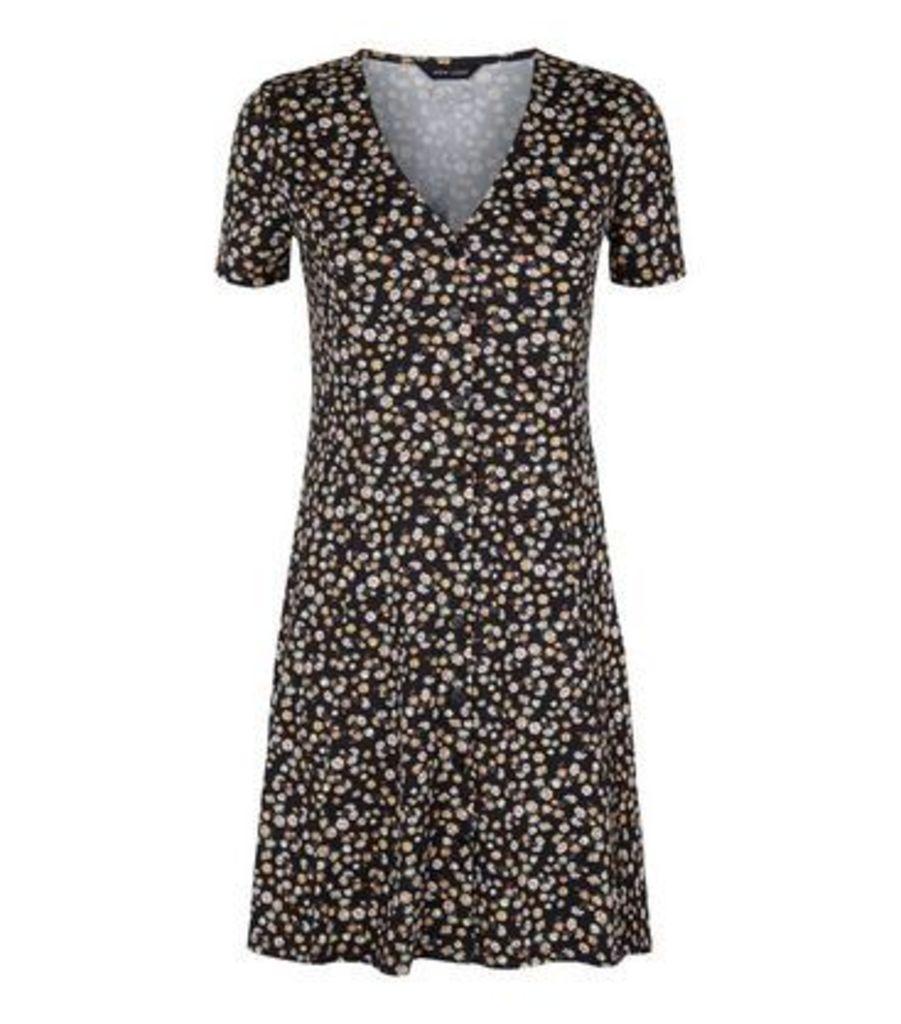 Black Floral Soft Touch Mini Tea Dress New Look