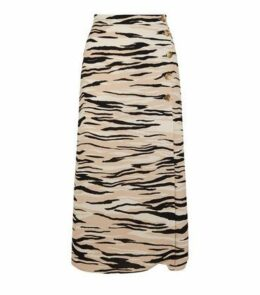 Brown Tiger Print Button Front Midi Skirt New Look