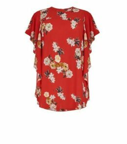Mela Curves Red Floral Waterfall Sleeve Blouse New Look