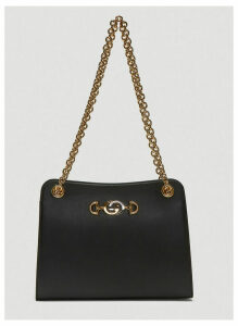 Gucci Zumi Leather Shoulder Bag in Black size One Size