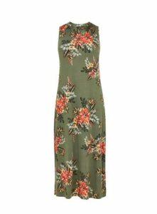Khaki Print Maxi Dress, Khaki