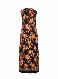 Black And Orange Floral Tassel Dress, Dark Multi